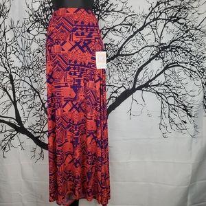 LuLaRoe Maxi Skirt Bright Pink & Purple Pattern Sm